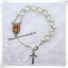 Plastic Beads Rosary Bracelet, Handmade Rosary Cross Bracelet (IO-CB034)