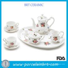 Louça de chá de porcelana branca floral Grace