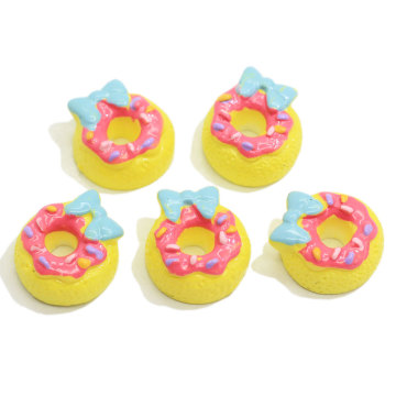 Kawaii Resin Simulation Bowknot Donut Resin Crafts Cabochon Decorative For Diy Phone Decoration