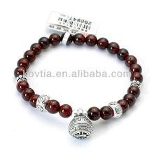 Red garnet beaded bracelet making Buddha beads bracelets sterling silver 925 thailand jewelry