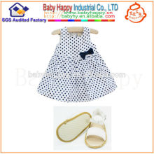 2014 Manufacturer cheapest polka dot bow dress New Style