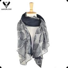 Moda de señora impresa suave bufanda Voile