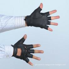 Gants demi-doigts en cuir noir hommes du fabricant
