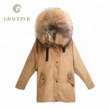 El proveedor de China al por mayor de piel de mapache real barato con capucha mujer Parka con linin de piel