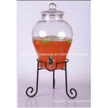 5.6L gran vaso de cristal claro conos y tapa de cristal con / sin soporte de metal Clip de grifo con grifo