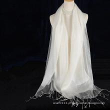 dupla camada de borlas seda lenço branco cor sólida com algodão