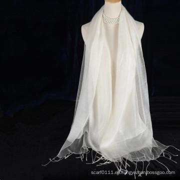 borlas de doble capa de seda blanca de color sólido con algodón