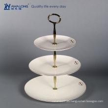 Venta caliente de hueso de hueso de China placa de fruta / porcelana de tres placas escalonadas / placas de cerámica de color blanco redondo multi-capa