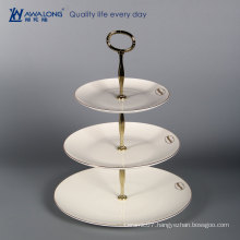hot sale fine bone china fruit plate / porcelain three tiered plate / ceramic white round multi-layer plates