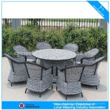 Vente chaude rotin jardin à manger ensemble loisirs en plein air meubles en osier