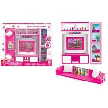 Plástico Pretend Play Set Dolls Casa Conjunto com Luz