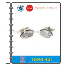Botão de punho de metal com logotipo de fita