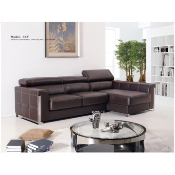 Genuine Leather Chaise Leather Sofa Electric Recliner Sofa (855)