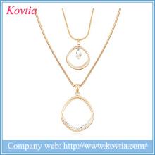 Chaînes à double serpent en or saudien remplies de longs colliers bijoux en cristal de bijoux faits à la main
