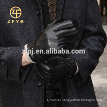 men winter wool lined leather glove with top deer skin buckle adornments