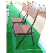 New Items Rattan Style Table Top Blow Molded Outdoor Leisure Folding Chair