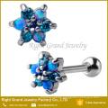 316L Surgical Steel Flower Cubic Zirconia Opal Ear Tragus Cartilage