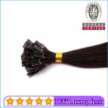 "22"" Straight Black Human Virgin Remy Hair Double Drawn Brazilian Ponytail Hair Extensions V-Tip Hair"