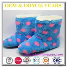 New design dot coral fleece kids indoor winter boots