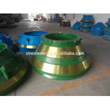 Чаша Liner Mn13Cr2 - Высокомагнезиальная литейная стальная конусная дробилка Запасные части Mn13Cr2 вкладыш чаши и мантия