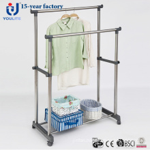 Big-Pipe Stainless Steel Double Rod Clothes Hanger