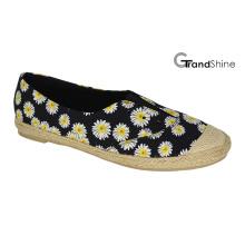 Женщин в Espadrille Печать холст плоские повседневная обувь