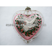 75mm heart-shaped glass ball with angel inside
