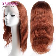 Peruca completa do laço do cabelo brasileiro da onda do corpo da cor # 33