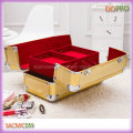 Gold Color Glary Outlook Professional Cosmetic Case (SACMC059)
