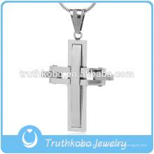 Personalizado religiosa brasil homens christ jóias top aço inoxidável brilhante polimento cristianismo oração camada sulcado pingente de cruz