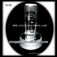 Cristal gravé au laser coloré par K9 avec la base de LED