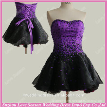 RP0062 Black and purple beaded stones top organza knee length corset sexy purple cocktail dresses real sample cocktail dresses