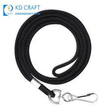 Wholesale cheap custom black neck strap sublimation printed 10mm 20mm 25mm id card blank round polyester roll lanyard ribbon