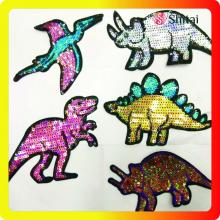 China Gold Supplier for Sequin Patches,Sequin Iron On Patches,Sequin Patches For Clothes Manufacturers and Suppliers in China OEM high quality cheaper dinosaur sequins patch supply to France Exporter