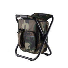 Factory small folding camping chair foldable metal chair with cooler bag on sale