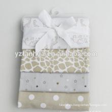 Customed algodón franela ahora nacido bebé bebés mantas