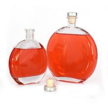 new design  liquor  glass vodka spirit bottle with rum cork