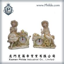 Polyresin Decorative Sculpture Quartz Desk Top Clocks (CC-HD-2020)