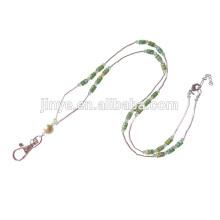 Mode Cristal Perlé Keychain Longe Porte-cartes d'identité perlé sangle