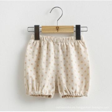 Algodón orgánico Lovely DOT impreso pantalones cortos bebé