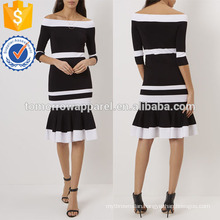 Black And White Off The Shoulder Dress Manufacture Wholesale Fashion Women Apparel (TA4064D)