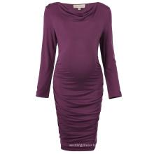 Kate Kasin Cómodo de manga larga de algodón de las caderas-Wrapped Bodycon lápiz vestido Vestido de maternidad vestido de maternidad KK000615-1