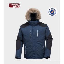 Nueva chaqueta de esquí al aire libre a prueba de viento de la nieve del paño con la capilla de la piel