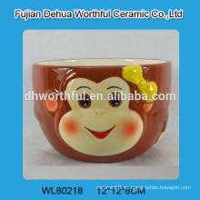 Tazón de sopa de cerámica al por mayor diseño de mono