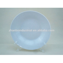 "8"" white porcelain round-edge soup plate"