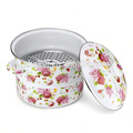 hot pot insulated enamel steamer with flower design