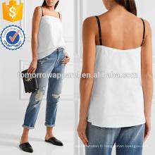 Camisole de coton-popeline blanche Fabrication de vêtements de mode en gros femmes (TA4139B)