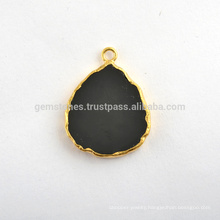 Wholesale Black Onyx Slice Gemstone Bezel Station Micron Gold Plated Sterling Silver Bezel Connector and Charm