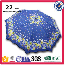 3 Folds 8 Ribs Beautiful Sunflower Printed Umbrella for Lady Nice Umbrella