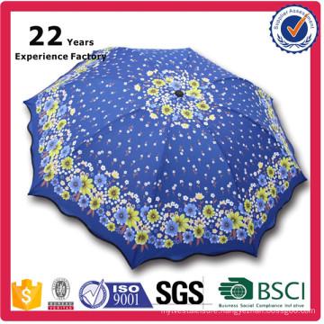 3 Folds 8 Ribs Beautiful Sunflower Printed Umbrella for Lady Nice Umbrella